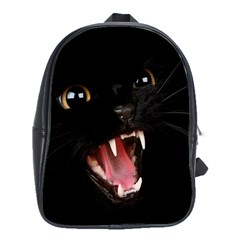 Angry Cat Bad Guy In Dark School Bag (XL) from DesignYourOwnGift.com Front