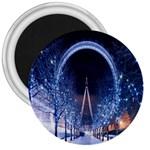 London Eye And  Ferris Wheel Christmas 3  Magnet