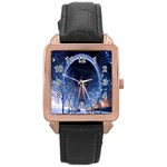 London Eye And  Ferris Wheel Christmas Rose Gold Leather Watch