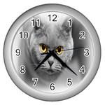 Animal Cat Golden Eyes Wall Clock (Silver)