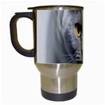 Animal Cat Golden Eyes Travel Mug (White)