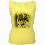 Animal Leopard In Snow Women s Yellow Tank Top