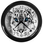Animal Leopard In Snow Wall Clock (Black)