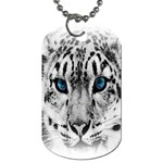 Animal Leopard In Snow Dog Tag (Two Sides)
