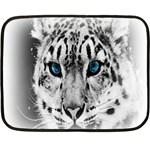 Animal Leopard In Snow Mini Fleece Blanket(Two Sides)