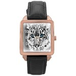 Animal Leopard In Snow Rose Gold Leather Watch
