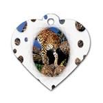 3 Dimention Kingdom Animal King Tree Climber Leopard  Dog Tag Heart (One Side)