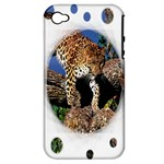 3 Dimention Kingdom Animal King Tree Climber Leopard  Apple iPhone 4/4S Hardshell Case (PC+Silicone)