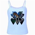 3 Dimention Kingdom Animal King Tree Climber Leopard  Baby Blue Spaghetti Tank