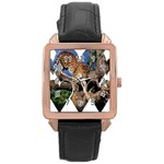 3 Dimention Kingdom Animal King Tree Climber Leopard  Rose Gold Leather Watch