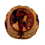 Donna Orechini By Alphonse Mucha 15  Premium Round Cushion