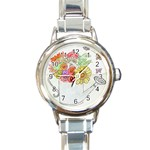 Watering Can Round Italian Charm Watch
