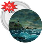 Hobson s Lighthouse -AveHurley ArtRevu.com- 3  Button (10 pack)