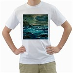 Hobson s Lighthouse -AveHurley ArtRevu.com- Men s T-Shirt (White) (Two Sided)