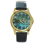 Hobson s Lighthouse -AveHurley ArtRevu.com- Round Gold Metal Watch