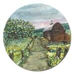 Amish Apple Blossoms -AveHurley ArtRevu.com- Magnet 5  (Round)