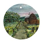 Amish Apple Blossoms -AveHurley ArtRevu.com- Round Ornament (Two Sides)