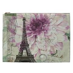 Purple Floral Vintage Paris Eiffel Tower Art Cosmetic Bag (xxl) by chicelegantboutique
