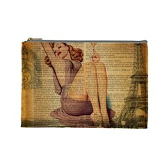 Vintage Newspaper Print Pin Up Girl Paris Eiffel Tower Cosmetic Bag (large) by chicelegantboutique