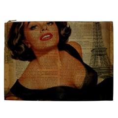 Vintage Newspaper Print Pin Up Girl Paris Eiffel Tower Cosmetic Bag (xxl) by chicelegantboutique
