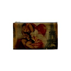 Vintage Newspaper Print Sexy Hot Gil Elvgren Pin Up Girl Paris Eiffel Tower Cosmetic Bag (small) by chicelegantboutique