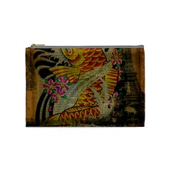 Funky Japanese Tattoo Koi Fish Graphic Art Cosmetic Bag (medium) by chicelegantboutique