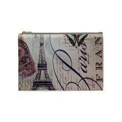 Vintage Scripts Floral Scripts Butterfly Eiffel Tower Vintage Paris Fashion Cosmetic Bag (medium) by chicelegantboutique