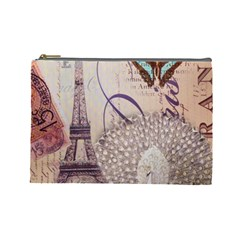 White Peacock Paris Eiffel Tower Vintage Bird Butterfly French Botanical Art Cosmetic Bag (large) by chicelegantboutique