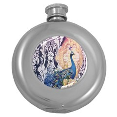 Damask French Scripts  Purple Peacock Floral Paris Decor Hip Flask (round) by chicelegantboutique