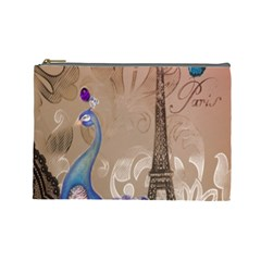 Modern Butterfly  Floral Paris Eiffel Tower Decor Cosmetic Bag (large) by chicelegantboutique