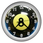 8 BALL Wall Clock (Silver)