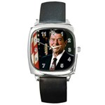 479px-Official_Portrait_of_President_Reagan_1981 Square Metal Watch