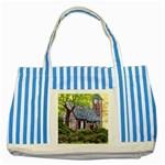 Essex Lighthouse -AveHurley ArtRevu.com- Striped Blue Tote Bag