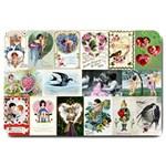 Vintage Valentine Cards Large Doormat