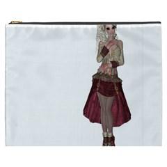 Steampunk Style Girl Wearing Red Dress Cosmetic Bag (xxxl) by goldenjackal