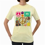 Peace Collage Women s T-shirt (Yellow)