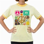 Peace Collage Women s Ringer T-shirt (Colored)