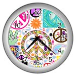 Peace Collage Wall Clock (Silver)