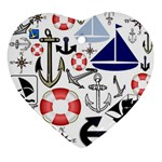 Nautical Collage Heart Ornament