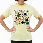 Nautical Collage Women s Ringer T-shirt (Colored)