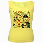 Nautical Collage Women s Tank Top (Yellow)