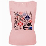 Nautical Collage Women s Tank Top (Pink)