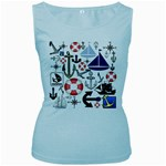 Nautical Collage Women s Tank Top (Baby Blue)