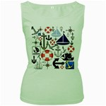 Nautical Collage Women s Tank Top (Green)