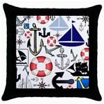 Nautical Collage Black Throw Pillow Case