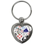 Nautical Collage Key Chain (Heart)
