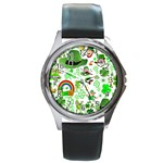 St Patrick s Day Collage Round Leather Watch (Silver Rim)