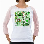 St Patrick s Day Collage Women s Long Cap Sleeve T-Shirt (White)