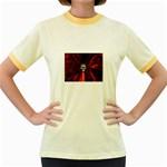 Skeleton in Blood Bath Women s Fitted Ringer T-Shirt