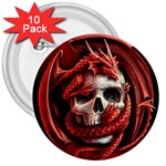 Red Goth Dragon Skull 3  Button (10 pack)